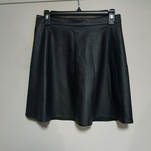 Faux Black Leather Skirt